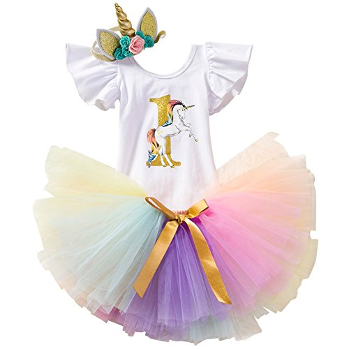Unicorn Birthday Outfit Rainbow Tutu Dress Baby Girls Romper + Ruffle Tulle Skirt + Flower Horn Headband Halloween Fancy Dress up Party Costume 3Pcs Cake Smash Set Clothes Colorful Age 1 Year -