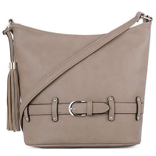 DELUXITY | Crossbody Hobo Slouch Bucket Purse Bag | Functional Multi Pocket with Tassel and Belt | Adjustable Strap | Taupe