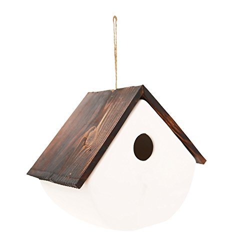 White Ceramic and Wooded Restful Birdhouse,Chalet