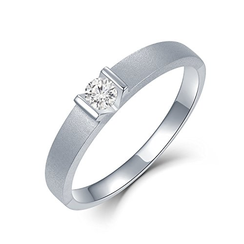 MaBelle 18K White Gold Solitaire Diamond V Shape On Sandblast Finished Men's Ring (0.11cttw) by MaBelle