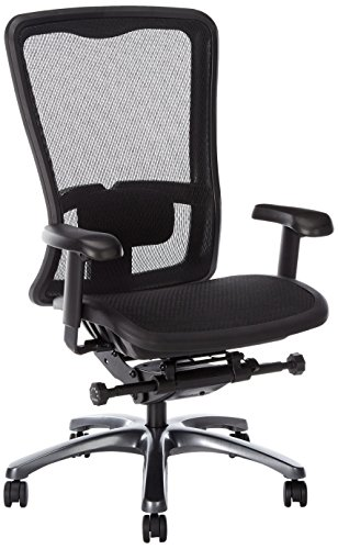 Office Star High Back Breathable ProGrid Back and Seat Adjustable Black Managers Chair, Gunmetal Finish