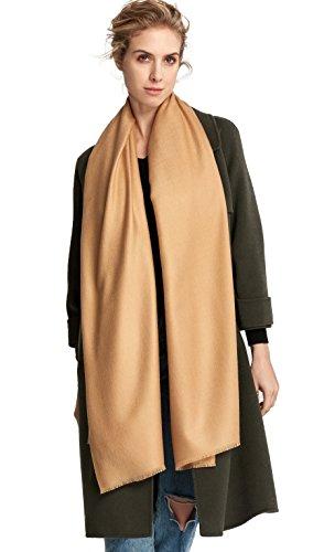 RIONA Women's Soild Basolan Wool Scarf - Super Soft Fashion Lightweight Neckwear for Spring & Fall(Camel) by RIONA (Image #2)