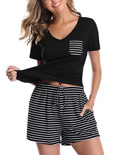 Vlazom Women's Pajama Sets V-Neck Short Sleeve Pjs Set Striped Solid Sleepwear with Pockets Black ()