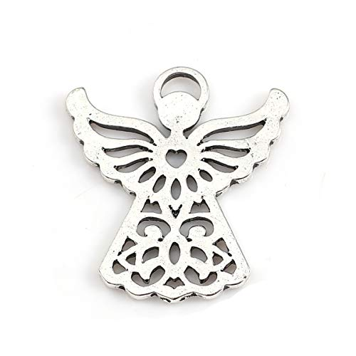 - Angel Charm Pendants, 20 Pack Silver Tone About 1 Inch, Religious Jewelry or Scrapbooking Arts and Crafts (Heart Center)