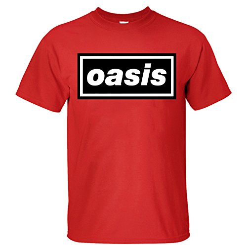 Jiuhe Men's Oasis band logo T Shirt red (Red Oasis)