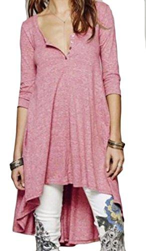 Domple Femmes Manches Asymétrique Demi Casual Col V Profond T-shirt Robe Rose