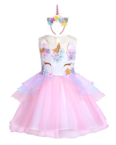 KABETY Baby Girl Unicorn Costume Pageant Flower Princess Party Dress with Headband (130cm, Pink)]()