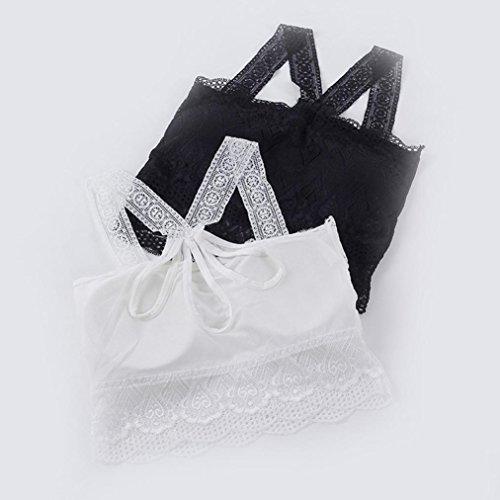 FNKDOR Mujeres encaje de alambre libre correas acolchadas Halter sin costura sujetador deportivo Blanco