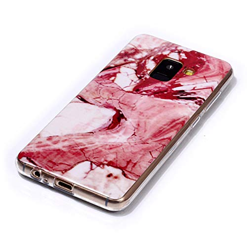 for Samsung Galaxy A8 2018 Marble Case with Screen Protector,Unique Pattern Design Skin Ultra Thin Slim Fit Soft Gel Silicone Case,QFFUN Shockproof Anti-Scratch Protective Back Cover - Red Texture by QFFUN (Image #2)
