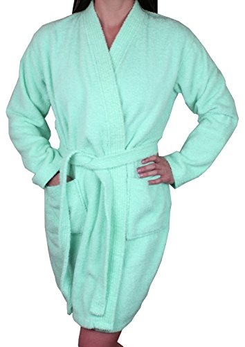 Women's Cotton Terry Cloth Long Sleeve Bathrobe Robe - Light Aqua Medium
