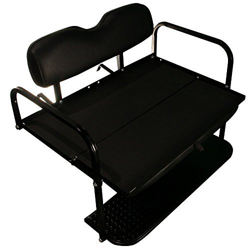 EZGO TXT Golf Cart Rear Flip Folding Back Seat Kit, 1995 and Up (Black Cushions) by Performance Plus Carts (Image #1)