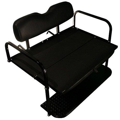 EZGO TXT Golf Cart Rear Flip Folding Back Seat Kit, 1995 and Up (Black Cushions)