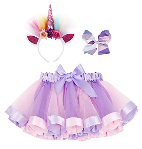 Girls Rainbow Layered Tulle Birthday Tutu Skirt Unicorn Headband Hair Bow (Tulle Set)