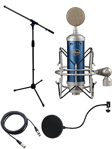Blue Bluebird Microphone Bundle with Mic Boom Stand, XLR Cable and Pop Filter Popper Stopper ()