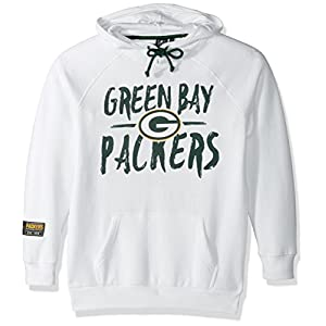 NFL Women's Fleece Hoodie Pullover Sweatshirt Tie Neck, Team Logo White