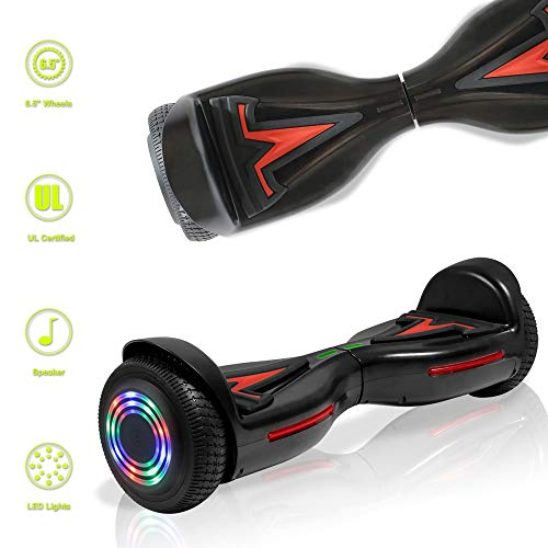 TechClic Electric Hoverboard Self-Balancing Hoover Board with Built in Speaker LED Lights Wheels UL2272 Certified (Black/Red)