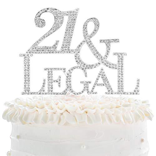 21 Legal Silver Rhinestone Crystal Cake Topper Happy 21st Birthday Party Decoration