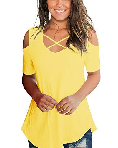 (AolakekeCold Shoulder Short/Long Sleeve T Shirts V Neck Tops Casual Criss Cross Tunic Blouse )