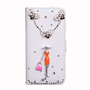 QYF Fashion Flip PU Leather Bling Flower Wallet Protective Case Cover with Stand Card Holder for iPhone 6 Plus , White