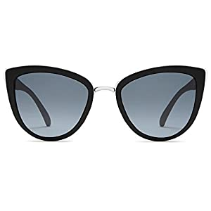 Quay My Girl Sunglasses | Cat Eye Aviator Frames | UV Protection (Black, Smoke)