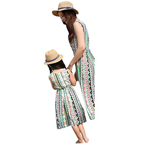Amazon.com: Matching Outfits Mother Daughter, HotMoon Stripe Stitching Casual Family Clothes Summer Beach Dress: Clothing