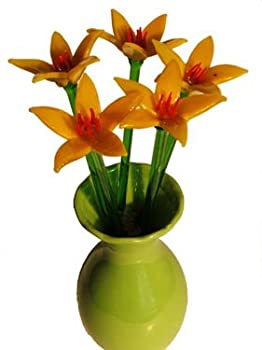 """10 Piece Open Yellow Glass Flowers 12""""T DOES NOT INCLUDE VASE"""