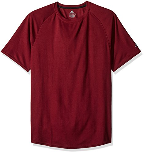 Russell Athletic Men's Short Sleeve Dri-Power Raglan Tee, Wine, XX-Large
