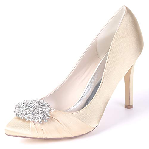 Shoes Party White YC Spring L Heels Women Classic Wedding Spool 9 FY060 Champagne Platform 5cm Satin PtXnA