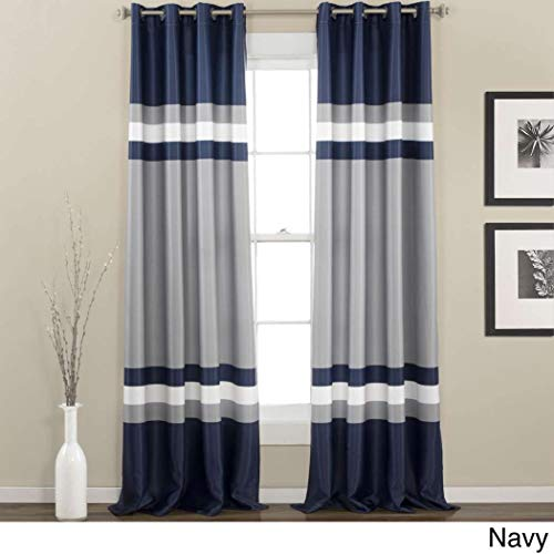 - UNKN 2pc 84 Navy Silver Grey Rugby Stripes Curtains Pair Panel Set, Nautical Sports Themed Horizontal Lines Design, Blue Color Drapes Cabana Striped Pattern Window Treatments, Kids Teen Polyester