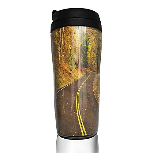 coffee cups with lids 16 oz Fall,Autumn Scene with Curvy Road in the Forest at Letchworth State Park New York City USA, Multicolor 12 oz,coffee cup for grandpa ()