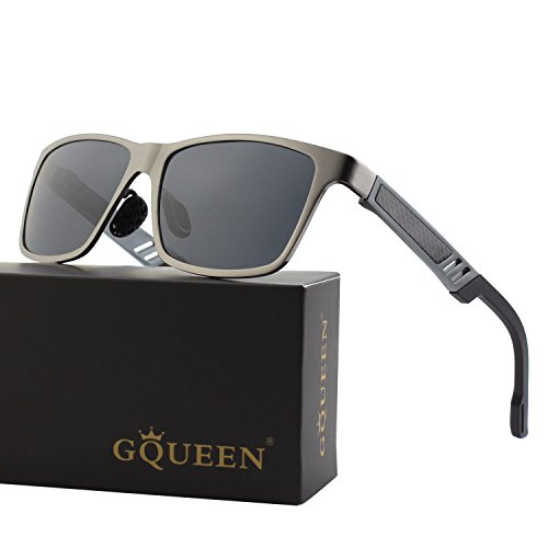 GQUEEN Men's Retro Al-Mg Frame Wayfarer Polarized Sunglasses UV400 Protection - Sunglasses Through See Eyes