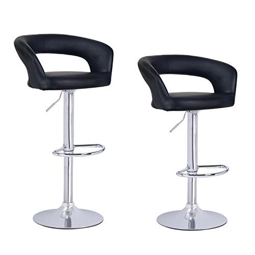 Adeco Black Leatherette Adjustable Low Cut Out Back Barstool Chair Chrome Finish Pedestal Base (Set of Two)