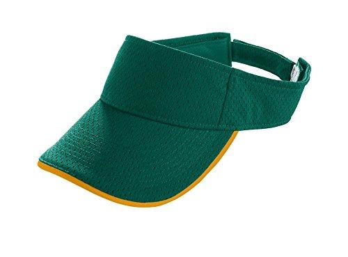 Polyester Mesh Visor (Augusta Sportswear KIDS' ATHLETIC MESH TWO-COLOR VISOR OS Dark Green/Gold)