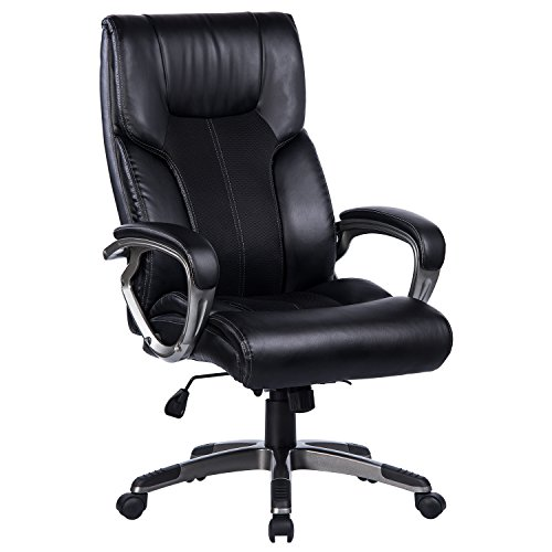 VANBOW High Back Office Chair - 90°-110°Rocking and Lock Function PU Leather & Mesh Executive Computer Desk Chair, Thick Padding for Comfort and Ergonomic Design for Lumbar (Back Executive Office Chair)