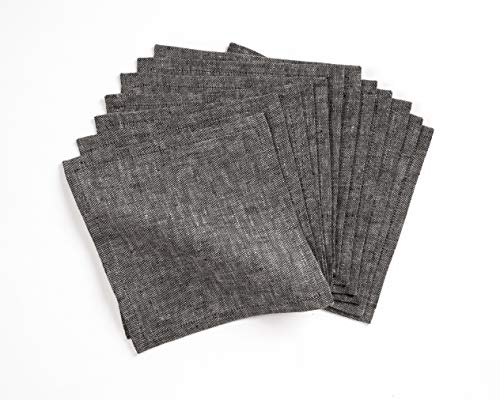 Linen Cocktail Napkin - 6 x 6 Inch, Set of 12-100% Natural Fabric Handcrafted Machine Washable Athena - Charcoal Grey