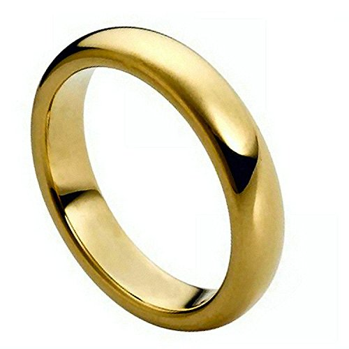 Tungsten His Hers Plain Wedding Band 5MM Flat Dome Gold Rhodium Plated & Polished Shiny Comfort Fit