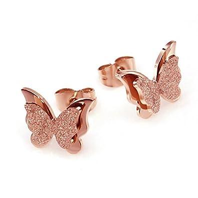 HooAMI Women's Rose Gold Stainless Steel Cute Butterfly Ear Stud Earrings Set/Necklace/Ring UqFhdcw