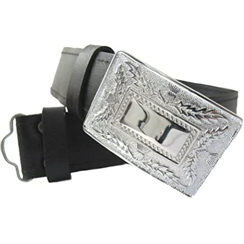 Boys Black Kilt Belt With Thistle Buckle