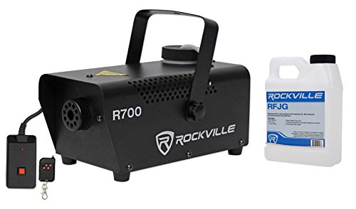 Machine Fog Kit (Rockville Fog/Smoke Machine w/Remote+Fluid, Quick Heatup Time (R700))