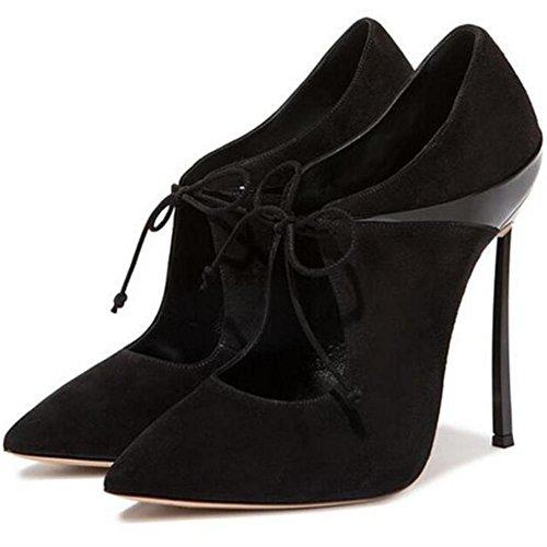 Fermé Pointu Taille Strappy NVXIE Chaussures Suède Intelligent Robe Pompes Talons Femmes Traverser Stylet 42 EUR37UK455 Sexy Doigt de BLACK 35 Travail Haute Pied UqvUzx