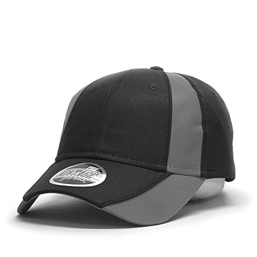 Vintage Year Reflective High Visibility Piping Neon Polyester Twill Low Profile Baseball Cap (Black/Ref.Gray) ()