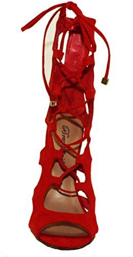 Breckelles Mujeres Roma-61 Gladiator Style Lace Up & Back Zip Peep Toe Sandalias De Tacón Alto Cherry