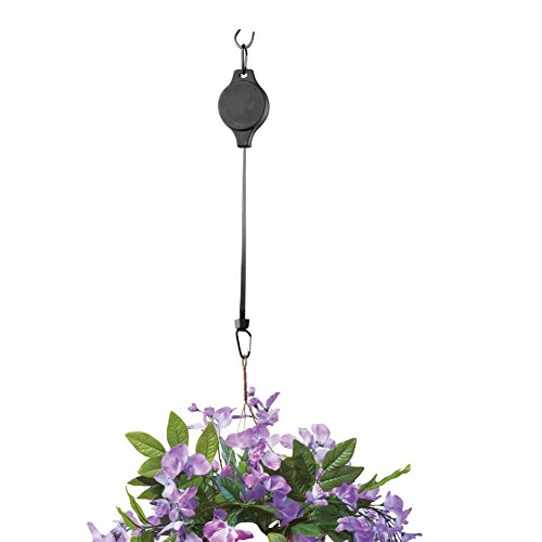 Set of 2 Hanging Plant Retractable Pulley Easy Reach Pull Down for Garden Baskets and Bird Feeder, Black