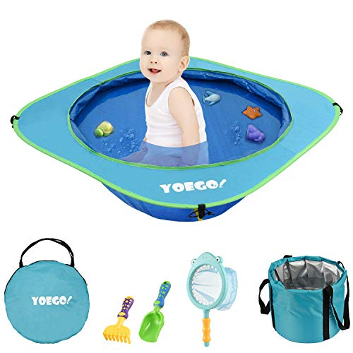 Yoego Kiddie Pool, Portable Baby Beach Swimming Pool, Toddler Pool with Baby Sand Toys Including Fish Net and Toy Fishes, Sand Shovel and Rake, Perfect for Babies Toddlers On The Beach and Indoors (Pop Up Swimming Pool)