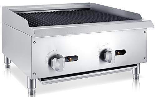 Chef's Exclusive CE769 Commercial Countertop Stainless Steel 24 Inch Radiant Char Broiler Charbroiler Grill Natural Gas, 70,000 BTU Per Hour 20KW, Metallic ()