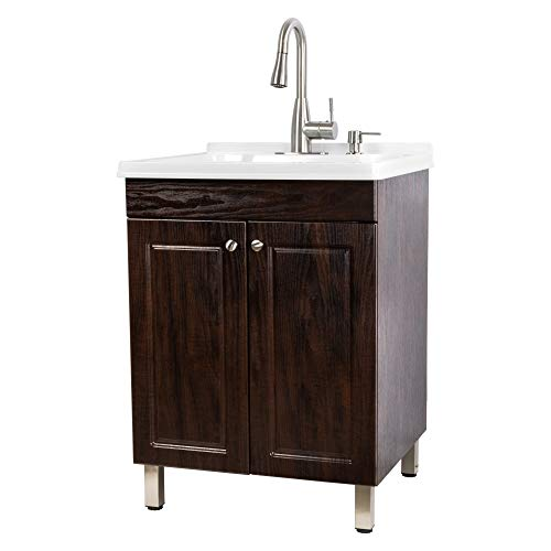 (Utility Sink Laundry Tub With Cabinet In Brown, High Arc Stainless Steel Faucet, Storage Vanity With Slow Closing Doors, Large Washtub for Cleaning and Washing, Sinks for Garage, Basement, Work Room)
