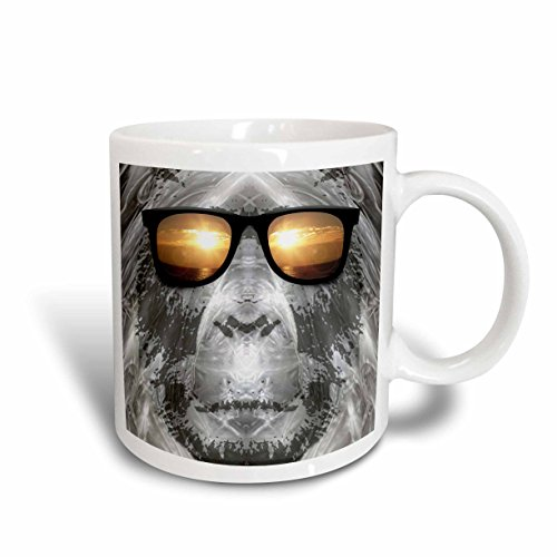 3dRose BigFoot/Sasquatch Wearing Sunglasses, Ceramic Mug, 15-Oz