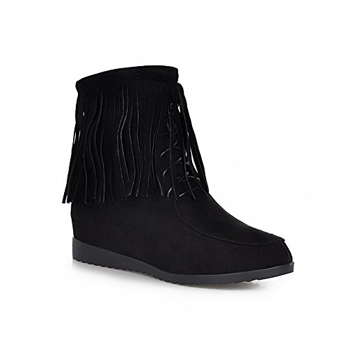 AgooLar Women's Fringed Frosted Kitten Heels Zipper Round Closed Toe Boots Black OxBIJ1
