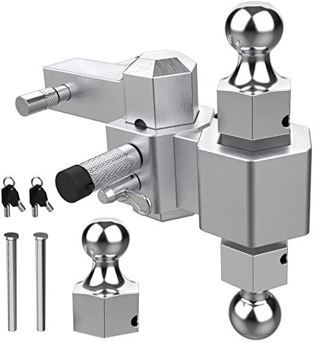 2 Drop 1-7//8 25,000lbs Rating Sulythw Trailer Hitch 3 Dual Towing Ball Mount Forged Aluminum Shank Heavy Duty for 2 Receiver 2 and 2-5//16 Balls with Double Pin Key Locks 4 Rise Adjustable