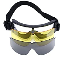 Dophee 3 Lens USMC Airsoft X800 UV-400 Goggle Safety Glasses GX1000 Yellow Black Clear